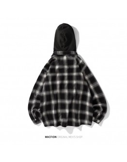 UNISEX CHECKERED HOODIE SHIRT