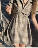 FREE SHIPPING LADIES RIBBON PATTERN DRESS / LOOSE SHIRT
