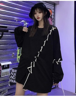 FREE SHIPPING UNISEX LACE-UP LONG-SLEEVED TOPS