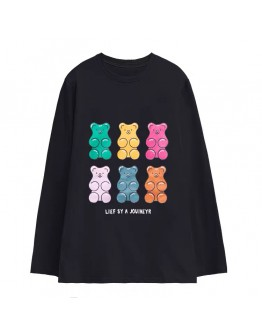 FREE SHIPPING UNISEX QQ BEAR LONG-SLEEVED TOPS