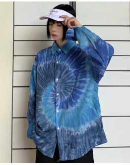 FREE SHIPPING UNISEX BLUE LOOSE SHIRT