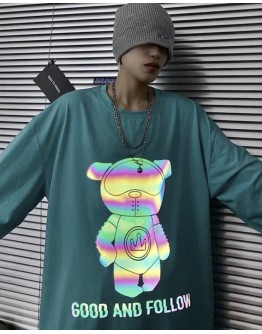 FREE SHIPPING UNISEX BEAR GOOD AND FOLLOW PRINT TOPS