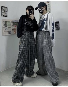 FREE SHIPPING UNISEX CHECKED LOOSE JUMPSUIT