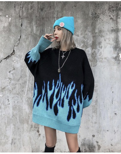 FREE SHIPPING UNISEX FIRE KNITTED LOOSE SWEATER