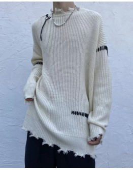 FREE SHIPPING UNISEX LACE-UP RIPPED KNIT SWEATER