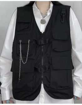 FREE SHIPPING UNISEX LOOSE CHAIN POCKETS VEST