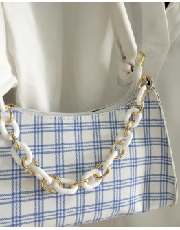 【WHB】CHECKED CHAIN ZIPPERED HANDBAGS