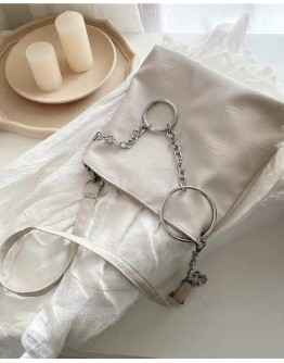 【WHB】ROUND CHAIN ZIPPERED CROSSBODY BAGS
