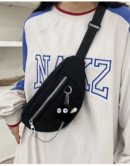 【WHB】UNISEX CANVAS CHAIN ZIPPER WAIST-BAGS