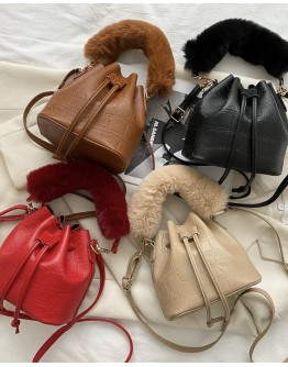 【WHB】FAUX LEATHER BUCKET BAGS