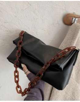 【WHB】FAUX LEATHER CHAIN CROSSBODY BAGS