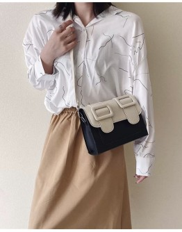 【WHB】FAUX LEATHER FLAP-TOPS SQUARE CROSSBODY BAGS