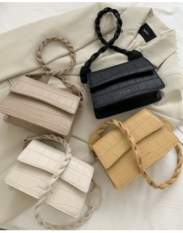 【WHB】FAUX LEATHER FLAP-TOP CROSSBODY BAGS