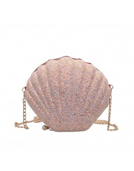 【WHB】GLITTER SHELL PATTERN CROSSBODY BAGS