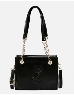 【WHB】FAUX LEATHER CHAIN BEAR CROSSBODY-BAGS
