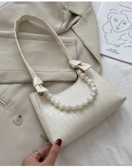 【WHB】CROS FAUX LEATHER PEARL HANDBAGS