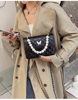 【WHOLESALE】FAUX LEATHER BUTTERFLY FAUX PEARL CROSSBODY