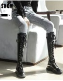 【WHOLESALE】LADIES HIGH LACE-UP FAUX LEATHER BOOTIES