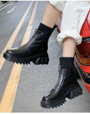 【WHOLESALE】LADIES FAUX LEATHER PLATFORM ZIPPER SOCKS BOOTIES