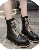 【WHOLESALE】LADIES FAUX LEATHER ZIPPER ANKLE BOOTIES