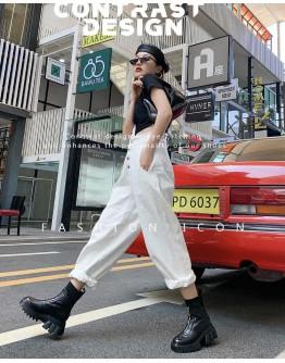 【WHOLESALE】LADIES FAUX LEATHER PLATFORM ZIPPER SOCKS BOOTIES