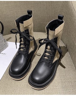 【WHOLESALE】LADIES LACE-UP 4CM HIGH ANKLE BOOTIES
