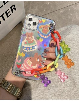 FREE SHIPPING IPHONE QQ BEAR CANDY CHAIN CASE