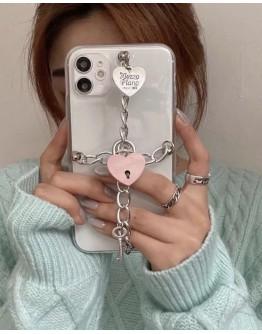 FREE SHIPPING CHAIN LOVE HEART CASE DOR IPHONE
