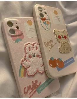 FREE SHIPPING FAUX LEATHER BEAR RABBIT CASE FOR IPHONE