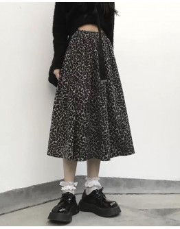 FREE SHIPPING LADIES LEOPARD A-LINE SKIRT