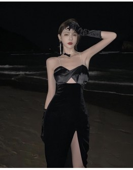 FREE SHIPPING CAMISOLE RHINESTONE BACKLESS FITTED DRESS