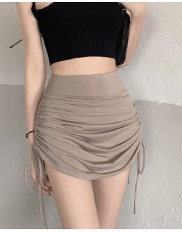 FREE SHIPPING ELASTIC LACE-UP FITTED SKIRT
