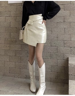 FREE SHIPPING FAUX LEATHER FITTED SKIRT + FREE CHAIN BELT BAGS