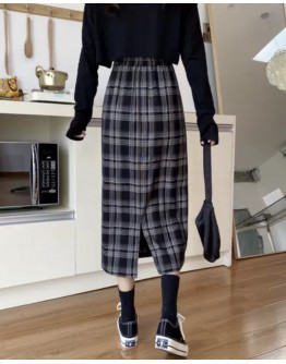 FREE SHIPPING LADIES CHECKED LONG-LINE PLUS SKIRT