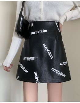 FREE SHIPPING LADIES MEHSIKIM FAUX LEATHER ZIPPER PLUS SKIRT