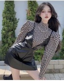 FREE SHIPPING LADIES TURTLENECK TOPS / FAUX LEATHER PLUS DRESS