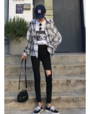 【GS】FREE SHIPPING LADIES FITTED DISTRESSED JEANS