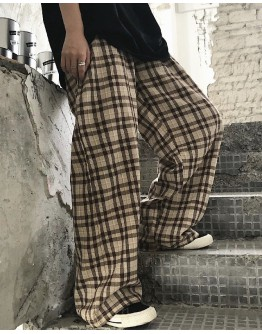 UNISEX CHECKERED LOOSE ELASTIC TROUSERS