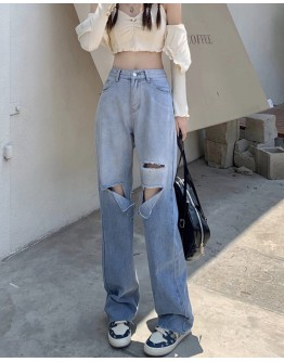 FREE SHIPPING GRADUAL DISTRESSED BAGGY JEANS