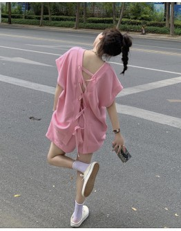 FREE SHIPPING BACKLESS LACE-UP TOPS + ELASTIC SHORTS