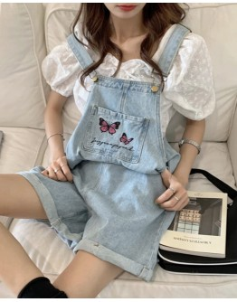 FREE SHIPPING LADIES BUTTERFLY EMBROIDERY DENIM JUMPSUIT