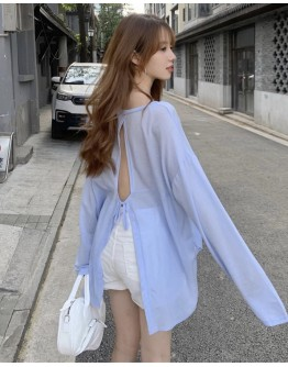 FREE SHIPPING LADIES BACKLESS LONG-SLEEVED TOPS / DENIM ASYMMETRICAL SHORTS