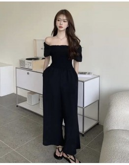 FREE SHIPPING LADIES CHIFFON OFF-THE-SHOULDER JUMPSUIT