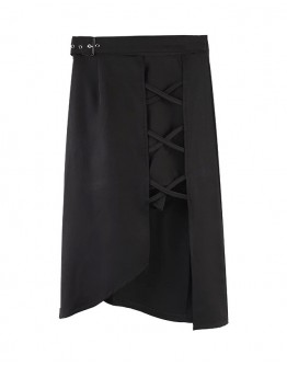 FREE SHIPPING ASYMMETRICAL LACE-UP LONG-SKIRT