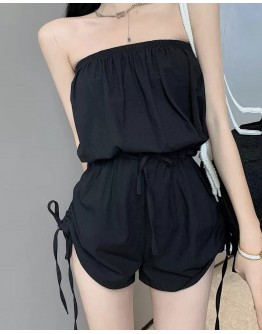 FREE SHIPPING LADIES ELASTIC LACE-UP JUMPSUIT