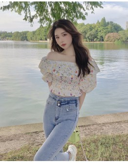 FREE SHIPPING OFF-THE-SHOULDER FLORA SHORT TOPS