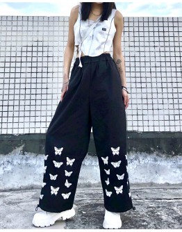 FREE SHIPPING LADIES BUTTERFLY PRINT TROUSERS