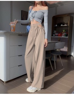 FREE SHIPPING LADIES CUT-OUT MAXI TROUSERS