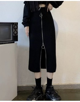 FREE SHIPPING LADIES KNITTED ZIPPER FITTED LONG-SKIRT