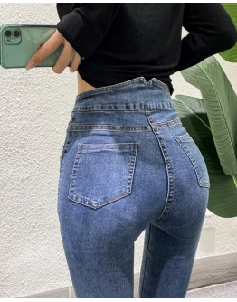 FREE SHIPPING BUTTON HIGH-WAIST FITTED JEANS